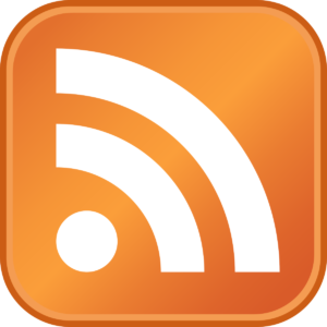 an orange square with the RSS logo in it